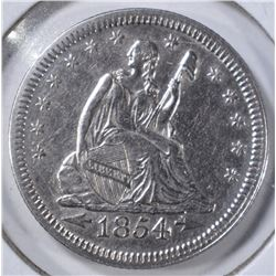 1854 ARROWS SEATED QUARTER, AU/BU CLEANED