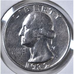 1932-S WASHINGTON QUARTER, AU/BU