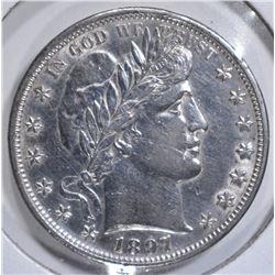 1897 BARBER HALF DOLLAR, AU/BU SCRATCHED