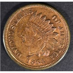 1864 BRONZE INDIAN HEAD CENT GEM BU RB