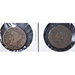 1839 VF & 1840 G LARGE CENTS