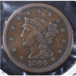 1844 LARGE CENT  XF