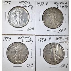 LOT OF 4 WALKING LIBERTY HALF DOLLARS: