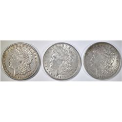 1921-S & 2 1921-D MORGAN DOLLARS  VF/XF