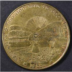 1855 OHIO STATE BRASS PERPETUAL CALENDAR TOKEN