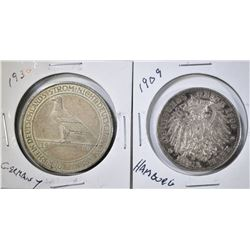 LOT OF 2 GERMAN STATES COINS: