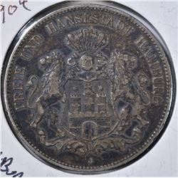 1904 J 5 MARK GERMAN STATES HAMBURG