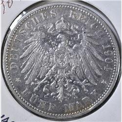 1904-D 5 MARK GERMAN STATES BAVARIA