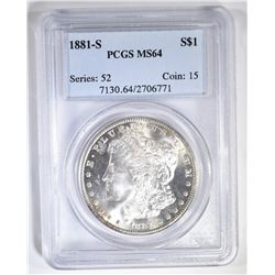 1881-S MORGAN DOLLAR  PCGS MS-64