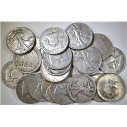 20-MIXED 90% SILVER U.S. HALF DOLLARS