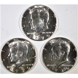 3-GEM BU 1970-D KENNEDY HALF DOLLARS