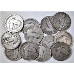 12 STANDING LIBERTY QUARTERS VG OR BETTER