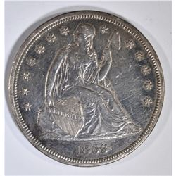 1863 SEATED LIBERTY DOLLAR AU