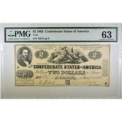 1862 $2 CONFEDERATE NOTE PMG 63 T-42