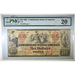 1861 $10 CONFEDERATE NOTE PMG 20 T-22