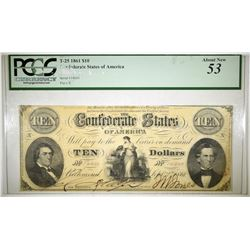 1861 $10 CONFEDERATE NOTE PCGS AU-53 T-25