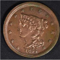 1855 HALF CENT  CH BU  MOSTLY RED