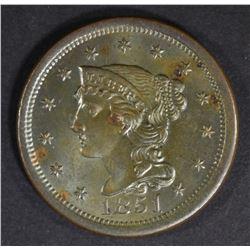 1851 LARGE CENT  CH/GEM UNC