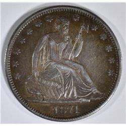 1871-S SEATED HALF DOLLAR  ORIG AU/UNC