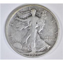1921-D WALKING LIBERTY HALF DOLLAR  FINE