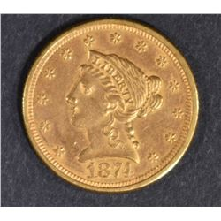 1874 $2.5 GOLD LIBERTY   BU OLD CLEANING