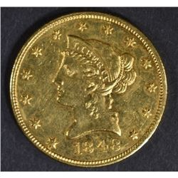 1848 $10 GOLD LIBERTY  NICE BU  OLD CLEANING