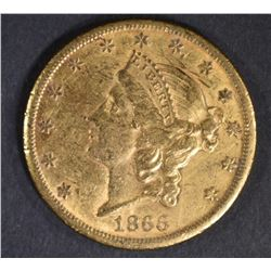1866-S $20 MOTTO GOLD LIBERTY  CH AU