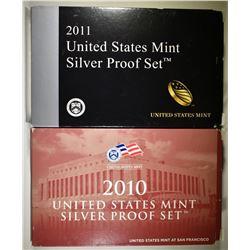 2010 & 2011 U.S. MINT SILVER PROOF SETS
