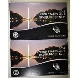 2014 & 2015 U.S. MINT SILVER PROOF SETS