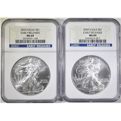2009 & 2010 AMERICAN SILVER EAGLES NGC MS-69