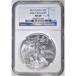 2012 AMERICAN SILVER EAGLE  NGC MS-69