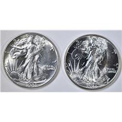 1942 & 43 WALKING LIBERTY HALF DOLLARS  CH BU