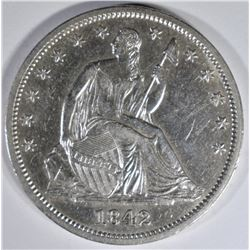 1842 SEATED LIBERTY HALF DOLLAR CH AU