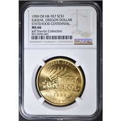 1959 EUGENE OREGON DOLLAR HK-557 NGC MS-66