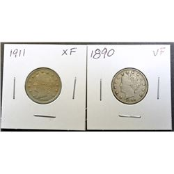 1890 VF & 1911 XF LIBERTY NICKELS