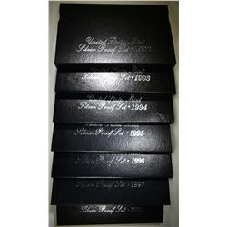 1992-98 U.S. SILVER PROOF SETS ORIG PACKAAGING