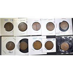 8 1865 & 2 1864 2 CENT PIECES AG-G