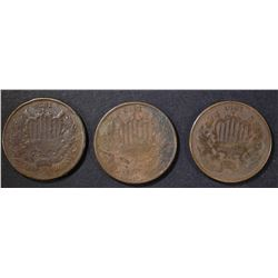 3 1870 2 CENT PIECES G-VG