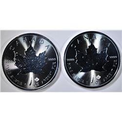 2-2020 BU CANADIAN SILVER MAPLE LEAF COINS