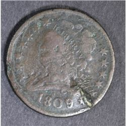 1809 HALF CENT, damage CLEAR DATE