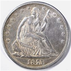 1875-CC SEATED LIBERTY HALF, XF/ AU