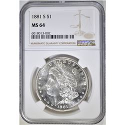 1881-S MORGAN DOLLAR, NGC MS-64