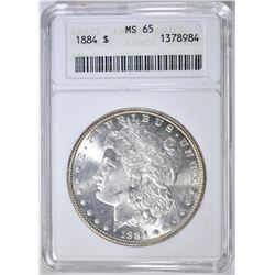 1884 MORGAN DOLLAR, ANACS MS-65