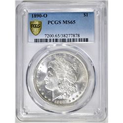 1890-O MORGAN DOLLAR, PCGS MS-65 BLAST WHITE
