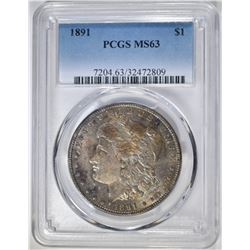 1891 MORGAN DOLLAR, PCGS MS-63 COLOR