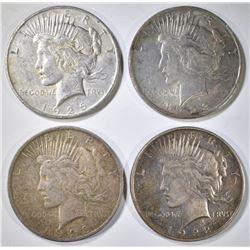 4-CIRC PEACE DOLLARS