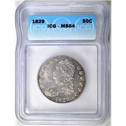 1829 BUST HALF DOLLAR ICG MS-64