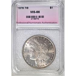 1878 7F MORGAN DOLLAR, PNA SUPERB GEM BU