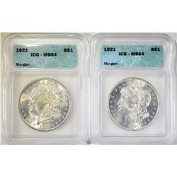 2-1921 MORGAN DOLLARS ICG MS64