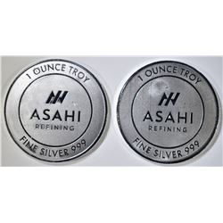 2-ONE OUNCE .999 SILVER ROUNDS ASAHI